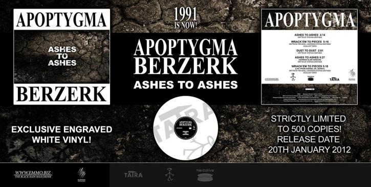 """APOPTYGMA BERZERK Ashes to Ashes 12"""" ENGRAVED WHITE VINYL 2012 LTD.500"""