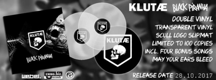KLUTAE Black Piranha 2LP TRANSPARENT VINYL + SLIPMAT 2017 LTD.100 LEAETHER STRIP