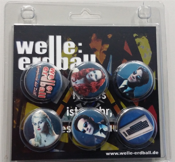 WELLE ERDBALL 6x Button Set BLAU