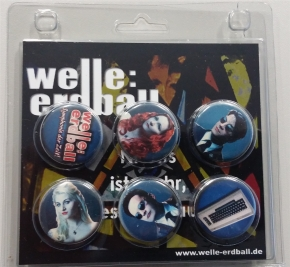 WELLE ERDBALL 6x Button Set BLAU